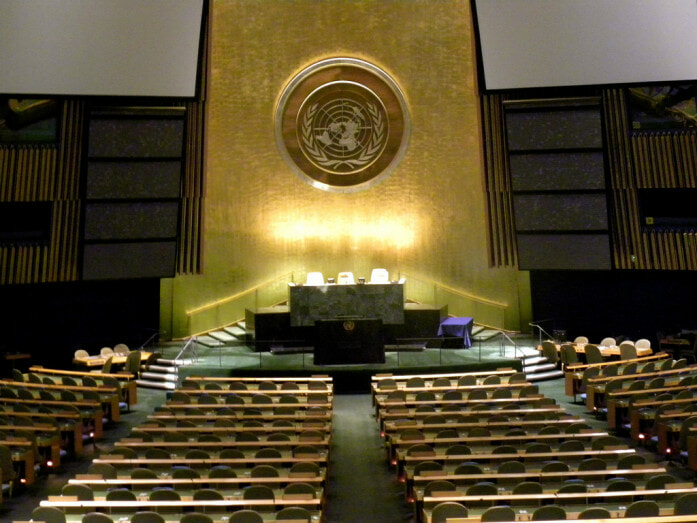 UN General Assembly at the United Nations headquarters in New York