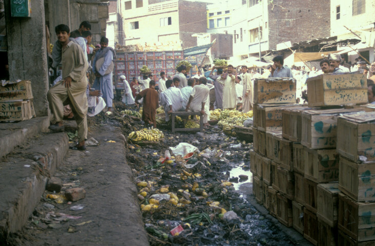 Central wholesale market for fruit and vegetables. Food trading taking place among unsanitary conditions thus causing health hazards. - - General: General.