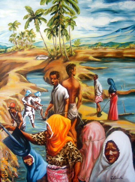 Rebuilding after the 2004 Tsunami in Aceh, Indonesia, AwF project (painting by Claude, M. New property)