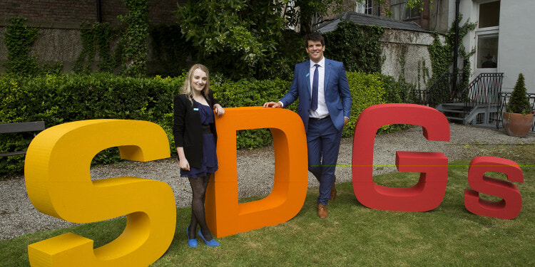UNICEF Goodwill Ambassador Donncha O'Callaghan (right) and High Level Supporter Evanna Lynch at a UN Youth Event