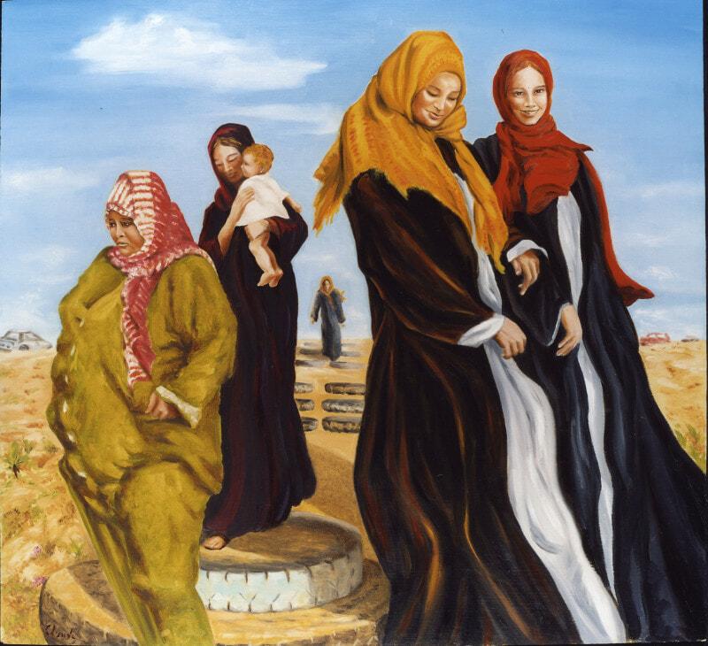Palestine women going to the beach 2003