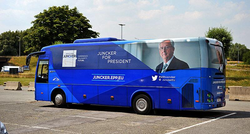 Juncker's campaing bus Laophorium_Ioannis_Claudii_Juncker_anno_2014