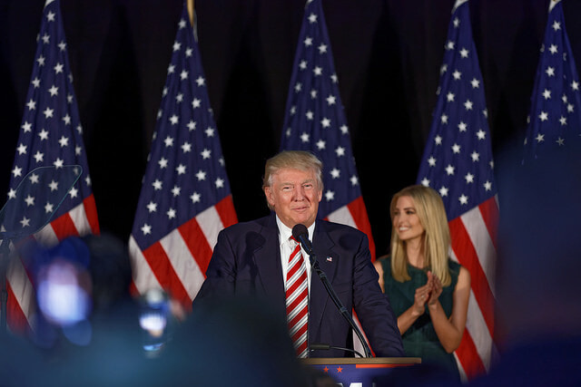 Donald Trump and his daughter Ivonka at a campaign rally in Aston, PE in 2016. Trump's son-in-law and advisor, Jared Kushner, identifies as an Orthodox Jew. Photo courtesy of Michael V. via Flickr.
