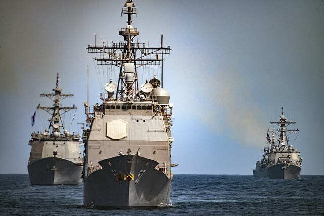 USS Lake Champlain leading Korean warships in the Pacific ocean. Photo Credit: US Navy via Flickr.