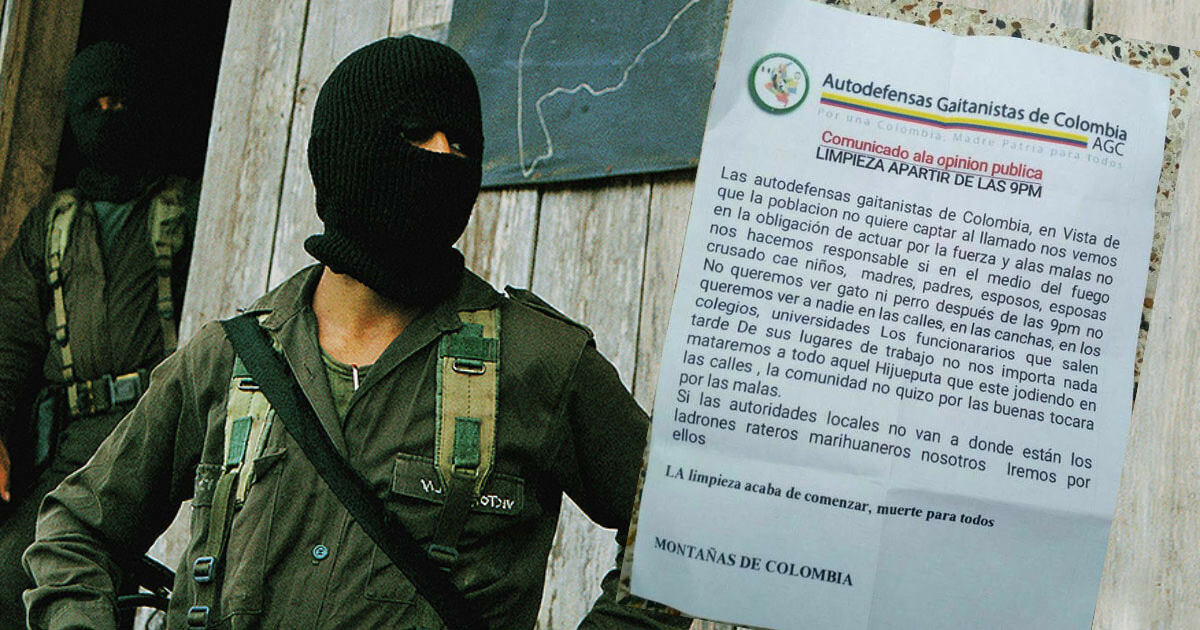 Autodefensas Gaitanistas in Pitalito with poster threatening public order