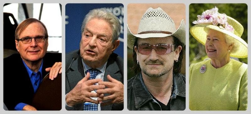 Paul G Allen Soros Bono Queen collage