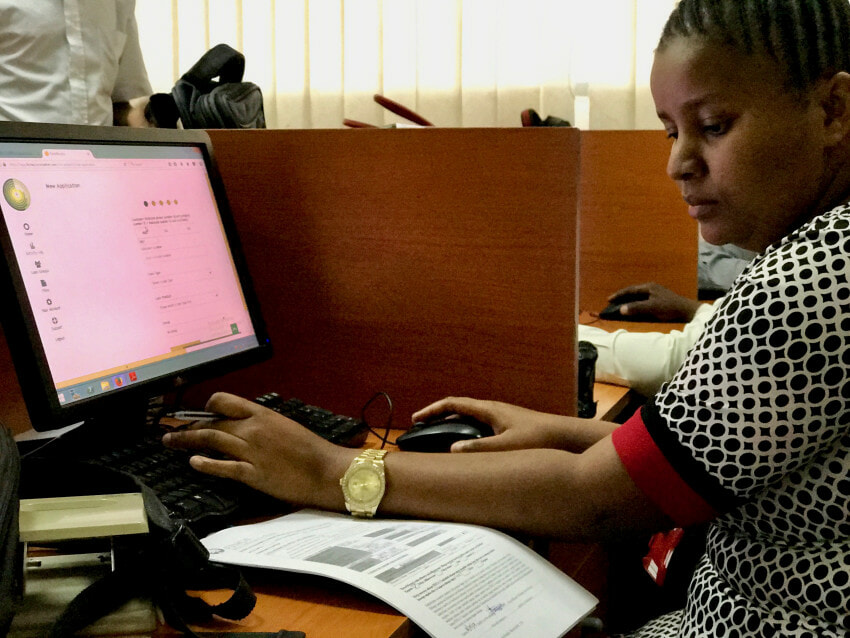 Loan officer using the First Access platform