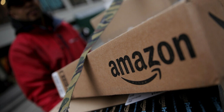 FILE PHOTO: Amazon boxes are seen stacked for delivery in the Manhattan borough of New York City, January 29, 2016. REUTERS/Mike Segar/File Photo