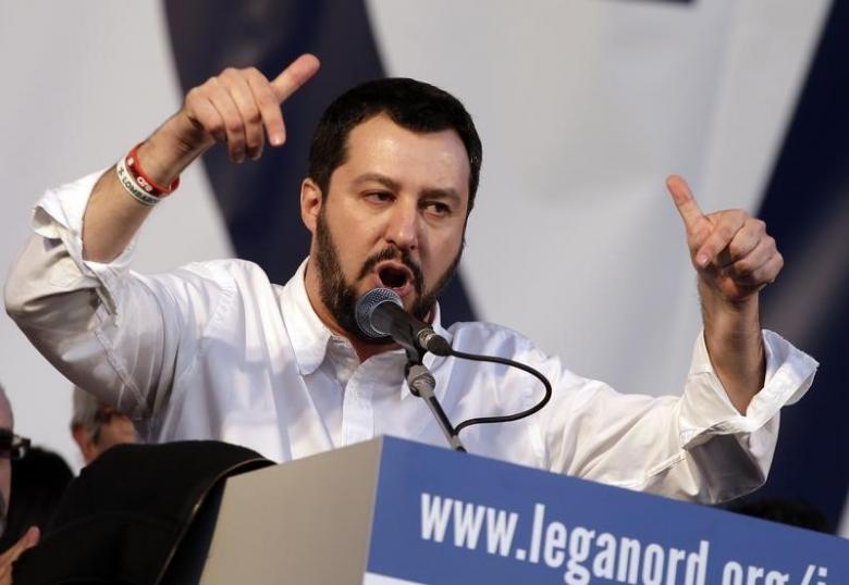 Northern League party leader Matteo Salvini speaks on stage during a rally in downtown Rome February 28, 2015. REUTERS/Max Rossi