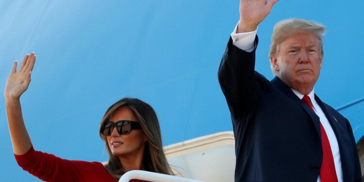 U.S. President Donald Trump and first lady Melania Trump board Air Force One as they depart Joint Base Andrews in Maryland, U.S. July, 10, 2018. REUTERS/Kevin Lamarque