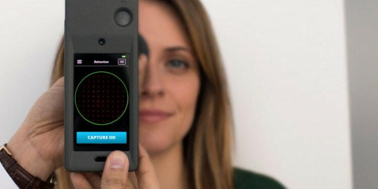 In the photo: Smart Vision Lab's SVOne autorefractor being utilized in an eye exam.