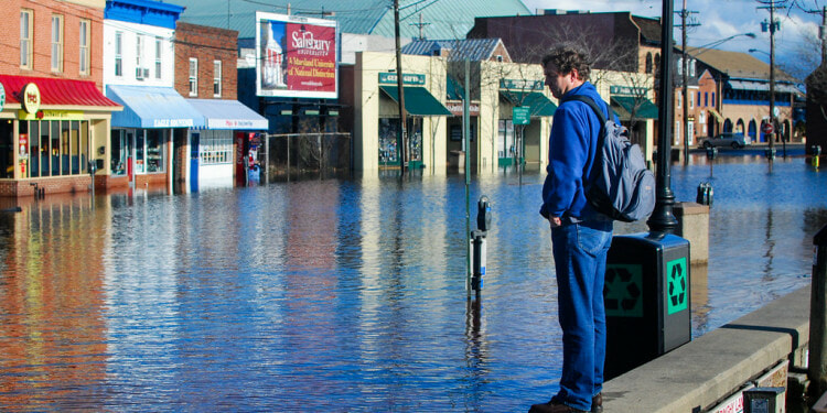 A man observes a stretch of Dock Street in Annapolis, Md., that flooded after the area received over three quarters of an inch of rain in 24 hours on Jan. 25, 2010. (Photo by Matt Rath/Chesapeake Bay Program)