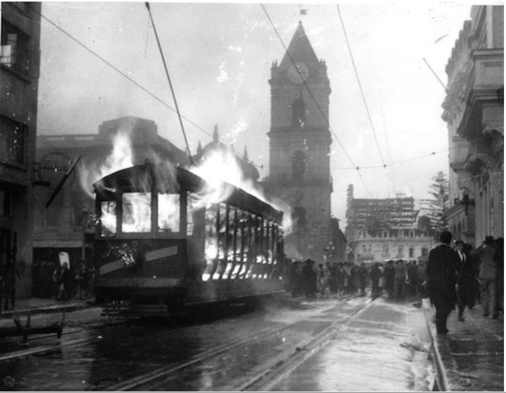 Bogota's tram burning (April, 9th 1948)