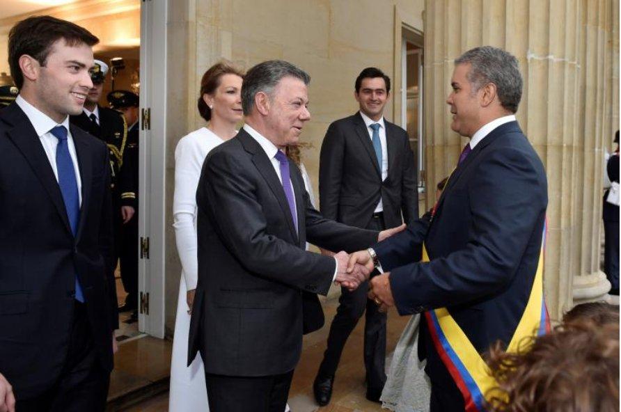 President Juan Manuel Santos welcome his successor Ivan Duque (August, 7th 2018)