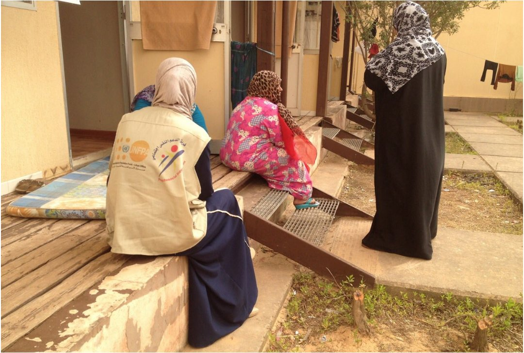 Psychosocial support sessions with displaced women.