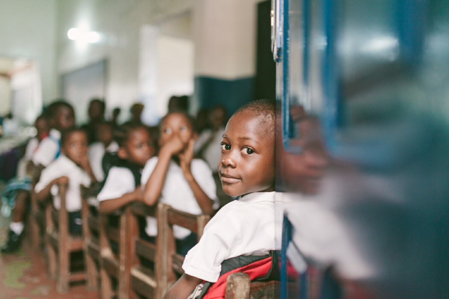Student in Liberia attending public education institution in Africa
