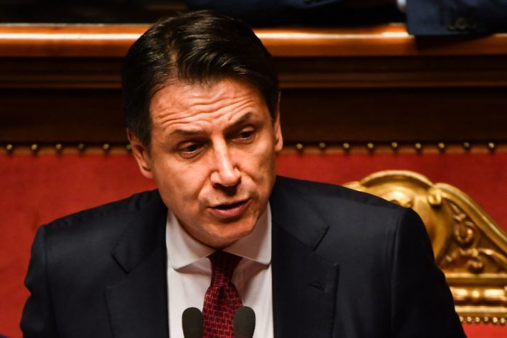 Italian Prime Minister Giuseppe Conte resignation speech at the Senate in Rome, on August 20, 2019      Photo credits: ANDREAS SOLARO/AFP/Getty Images