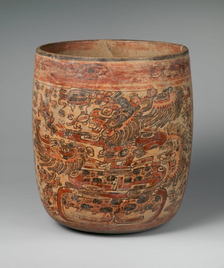 Ancient Mayan Vessel Depicting Seated Dieties