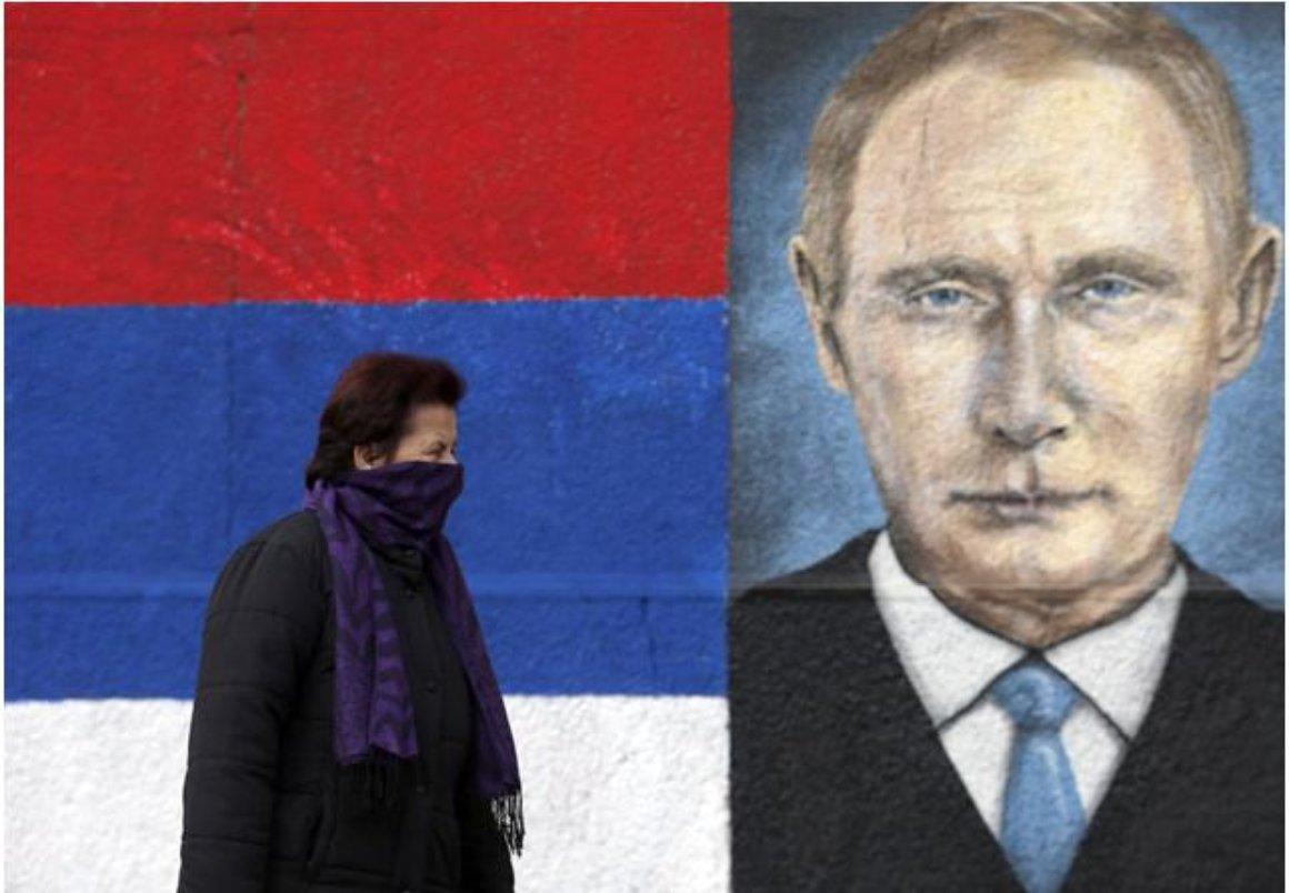 Putin graffiti outside Belgrade
