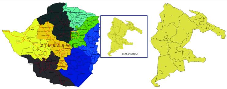 Map of Zimambawe highlighting Seke rural