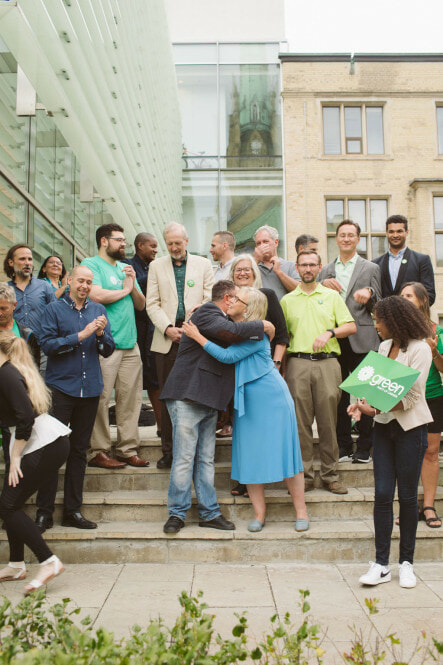 Elizabeth May (GPC Leader) with Green Candidates at Climate Emergency Forum-2