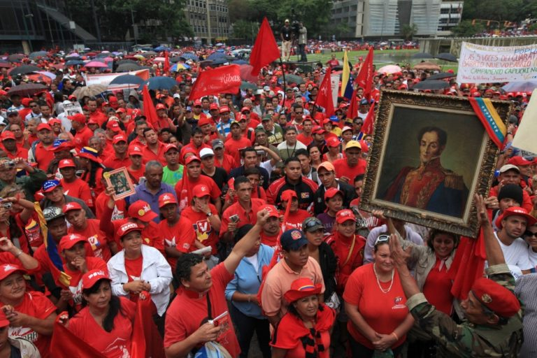 The start of a march celebrating the people's overthrow of the 2002 Venezuela coup in 2011