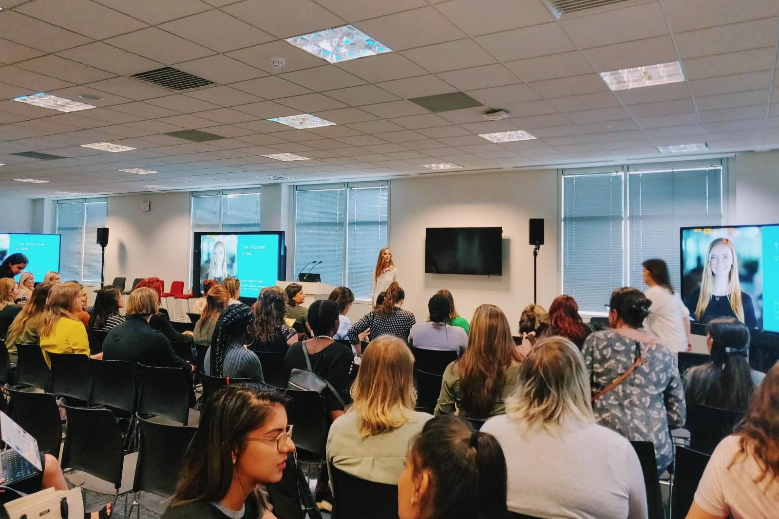 Holly Presenting at Microsoft's TechHer about Imposter Syndrome