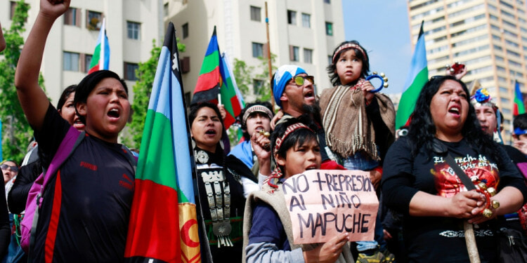 Mapuche protesters defending their right to their land.