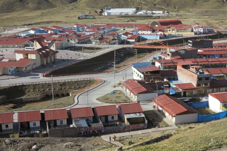 The newly planned community of Nueva Morococha, which was built in a high Andean valley by Aluminum Corp of China to house miners and families displaced by an expanding copper mine.