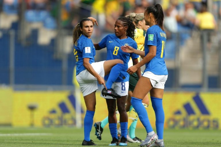 Marta celebrating her first goal in the 2019 World Cup, becoming the only players to score in 5 different editions of the tournament