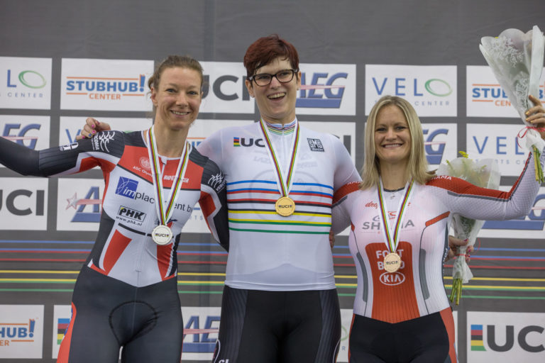 """Rachel McKinnon (center) pictured with Jen Wagner-Assali (right), who called her victory """"not fair"""""""