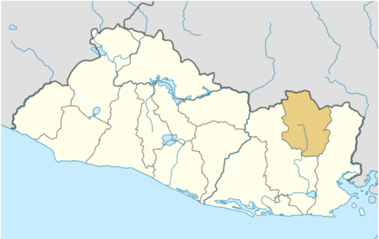 Map of El Salvador. Department of Morazán highlighted.