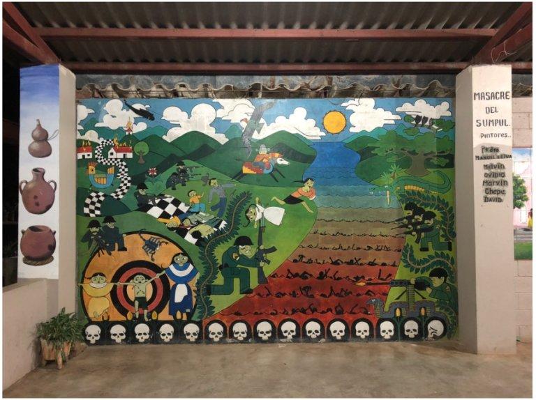 Mural in memory of the victims of the El Sumpul Massacre.