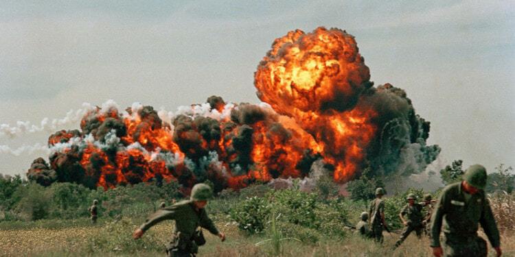 Vietnam War US Napalm Strike A napalm strike erupts in a fireball near U.S. troops on patrol in South Vietnam, 1966 during the Vietnam War. (AP Photo)