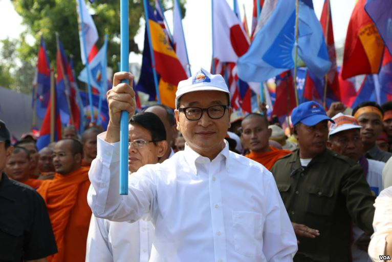 Cambodian opposition leader Sam Rainsy at a pro-democracy protest. Source: VOA Cambodia