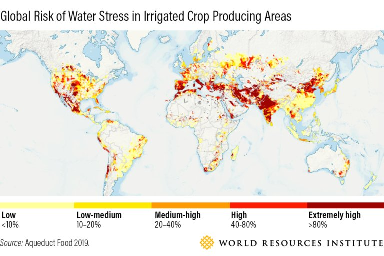 Graphic showing the risk of water stress in irrigated crop producing areas.