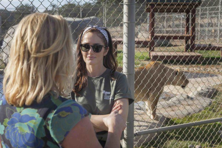 Actress Minka Kelly at Lions Tigers & Bears Sanctuary