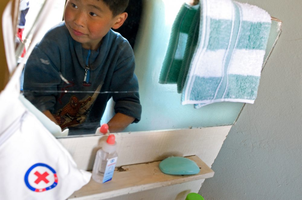 A child washing his hands during the COVID-19 pandemic