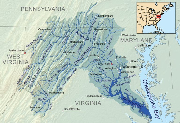 Map of the Potomac River