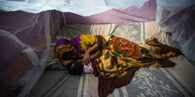 """Habiba Suleiman, 29, a district malaria surveillance officer in Zanzibar, naps with her little girl Rahma under a mosquito net. She lives with her husband and their three children in Tanzania, where an estimated 60,000-80,000 people die from malaria each year. Hariba is working to change that and create a malaria-free future for her kids. She visits about six houses in her community a day, testing potential malaria patients, providing treatments when necessary, recording information about the malaria prevention measures they've taken, and educating them on how to best protect their families. Her efforts are supported by a USAID-provided motorcycle, mobile phone and tablet to make her efforts more effective. Hariba takes pride in her work: """"In life, health is important over everything."""" Morgana Wingard, USAID"""