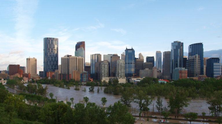 Bow River flooding downtown Alberta Calgary