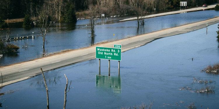 Highway 11 flooding Muskoka Canada