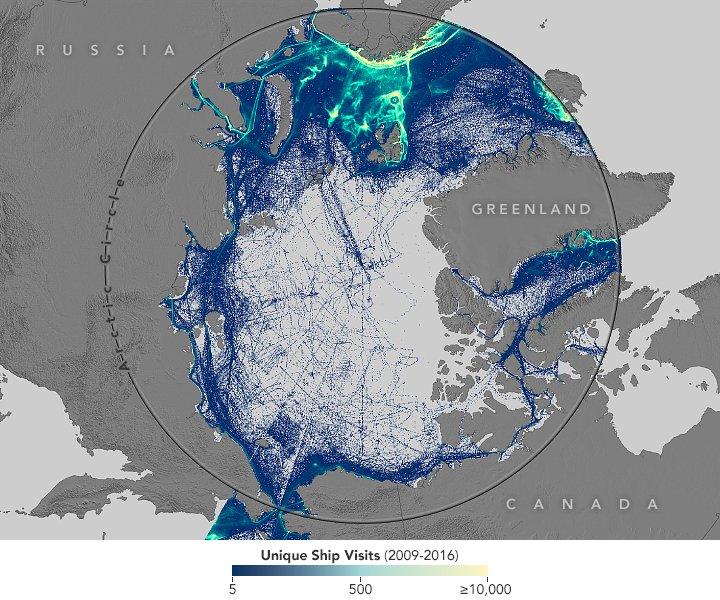 Arctic shipping traffic map