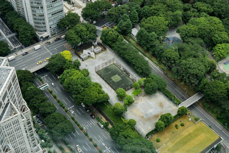 Aerial view of green space in Tokyo, Japan
