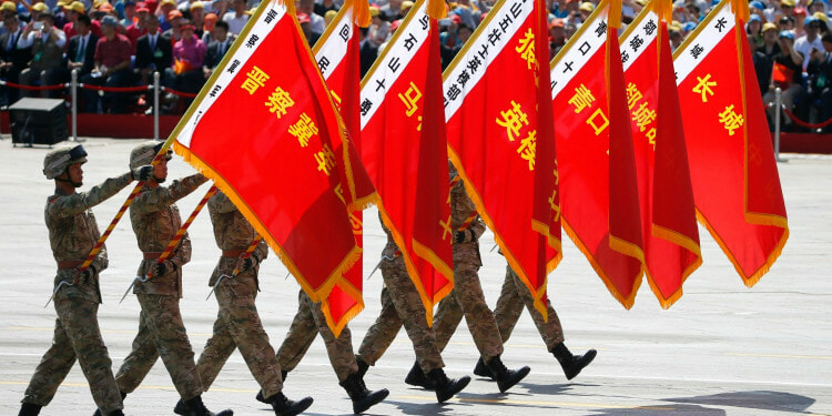 In the picture: Chinese soldiers with flags during the military parade Beijing, China, Sept. 3, 2015. Credits: AP photo by Ng Han Guan.