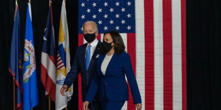 Vice President Joe Biden and his running mate, Sen. Kamala Harris participate in a announcement event  in Wilmington, DE, August 12, 2020 ( Lawrence Jackson/ Biden for President)