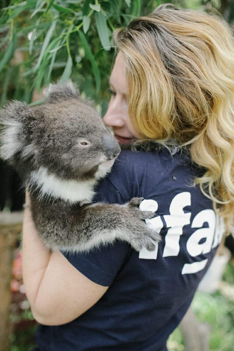 Josey Sharrad holding a koala
