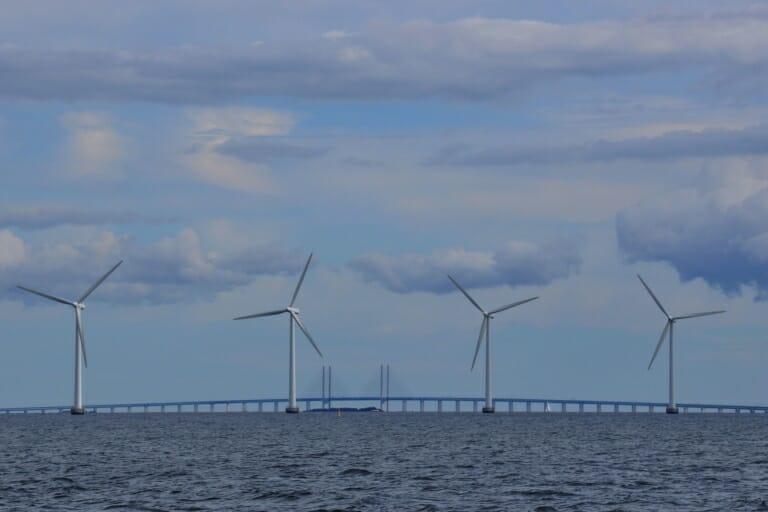 Windmills harvesting wind energy in Denmark