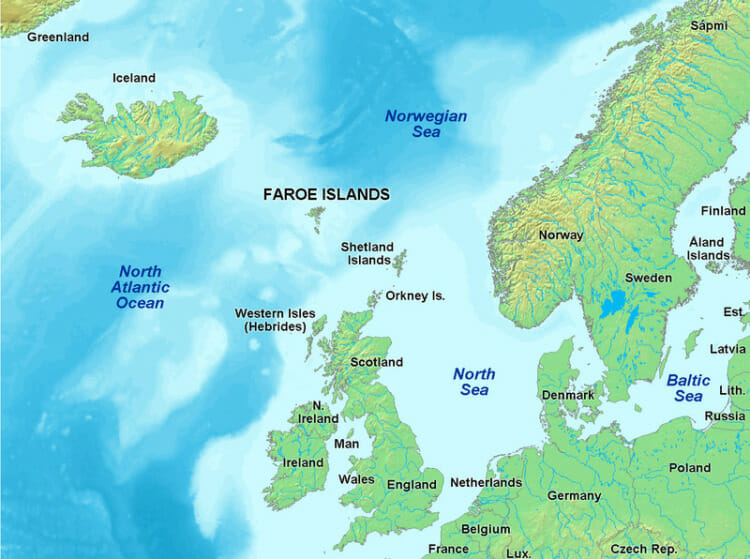 Image showing where Faroe Islands is on the Map