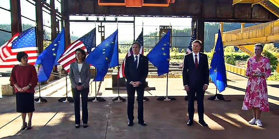 TTC press conference following the meeting 29 September 2021 with from left to right, Trade Representative Katherine Tai, Commerce Secretary Gina Raimondi, State Secretary Anthony Blinken, EU Commissioners Valdis Dombrovskis and Margrethe Vestager